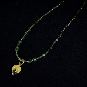 Amanda Linn Gold Crescent Tourmaline Necklace