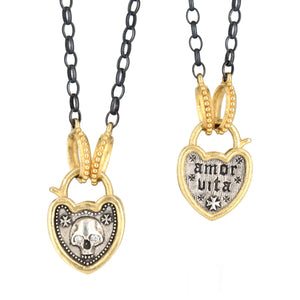 Erica Molinari-Skull Padlock Charm and Necklace-18k yellow gold-sterling silver