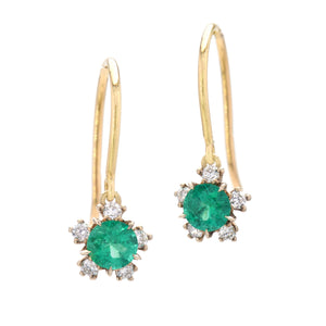 Kataoka Emerald Snowflake Blossom Earrings