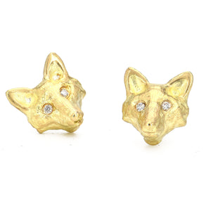 Erica Molinari-Fox Stud Earrings with Diamond eyes-Alchemy Jeweler