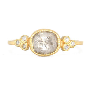 Jennifer Dawes Oval Rosecut Diamond Ring in 18k yellow gold