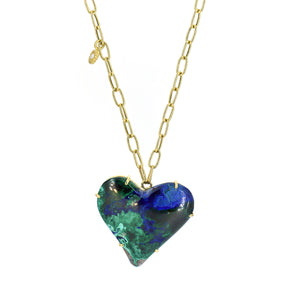 Lauren K Azurite Malachite Heart Necklace