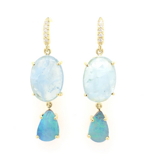 lauren k jewelry joyce earrings in 18k yellow gold aquamarine and opal at alchemy jeweler