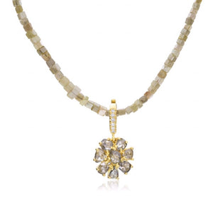 Lauren K Jewelry champagne diamond flower pendant and diamond cube beads at alchemy jeweler