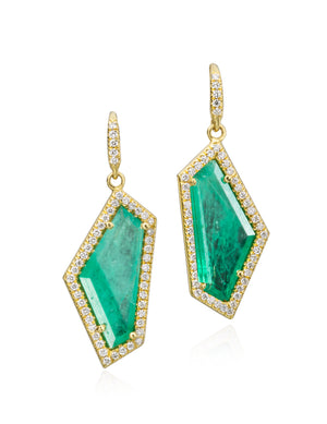 Lauren K Jewelry- 18k yellow gold and emerald earrings with diamonds