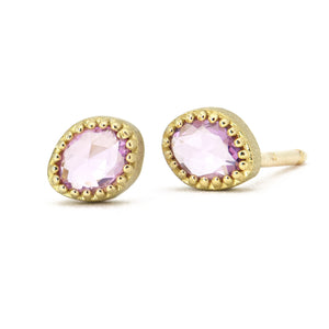 Lauren K Pink Sapphire Stud Earrings