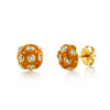 Lord Jewelry 18k Yellow Gold, Orange Enamel Diamond Stud Earrings - Alchemy Jeweler