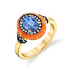 Lord Jewelry Blue Sapphire, Orange Enamel Rock Candy Ring