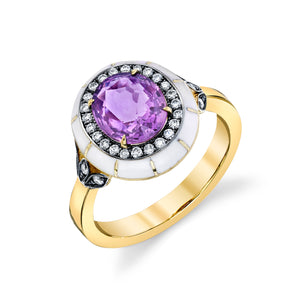 Lord Purple Sapphire, White Enamel Rock Candy Ring in 18k yellow gold