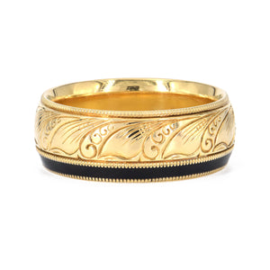 Mark McNown 18k Yellow Gold and black enamel band