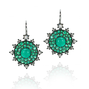 Nam Cho Small Emerald Bull's Eye Earrings