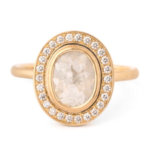 Anne Sportun - 18k yellow gold Rosecut Oval Diamond Ring - RX1988