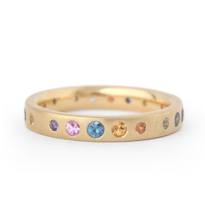 Anne Sportun Multi-Colour Gypsy Set Sapphire Band in 18k Yellow Gold