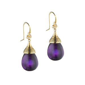 Ray Griffiths-Amethyst and 18k Yellow Gold Drop Earrings