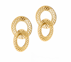 Ray Griffiths Crownwork Circle Stud Double Hoop Earrings