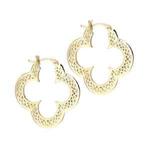 Ray Griffiths -18k Gold Crownwork Earrings-clover