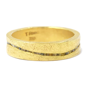 Todd Reed-Raw Diamond cube- 18kt yellow gold-men's wedding band