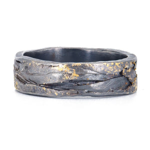 Todd Reed Organic Band in 22k gold and patina sterling silver