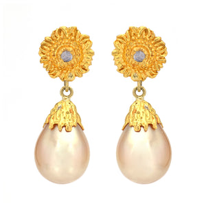 Victor Velyan Golden Pearl Sun Top Earrings
