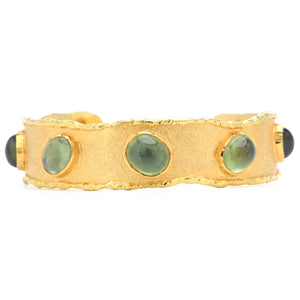 Victor Velyan- Los Angeles Prehnite Cuff 18k and 24k Yellow Gold
