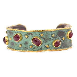 Victor Velyan Red Spinel Cuff in 24k yellow gold and patina sterling silver