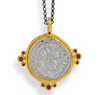 Zaffiro Ancient Roman Silver Coin Pendant with Red Spinel