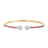 18k Rose Gold Pink Sapphire and Diamond Bangle Bracelet