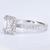 Emerald Cut Diamond Solitaire Ring with Diamond Band at Alchemy Jeweler