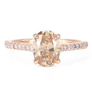 18k Rose Gold Fancy Colored Oval Diamond Solitaire Engagement Ring at Alchemy Jeweler