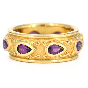 18k Yellow Gold Grape Garnet Eternity Band
