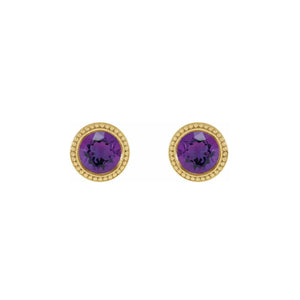 14k Gold Alexandrite Beaded Bezel Stud Earrings