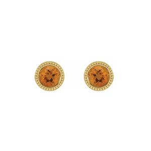 14k Gold Citrine Beaded Bezel Earrings