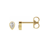 14k Yellow Gold Micro Diamond Pear Stud Earrings