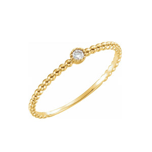 14k Yellow Gold Beaded Diamond Solitaire Ring