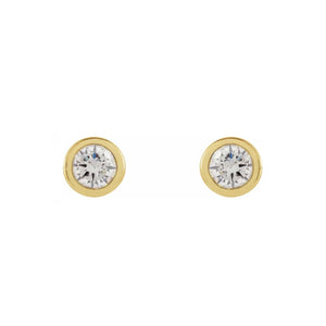 14k Yellow Gold Diamond Bezel Stud Earrings