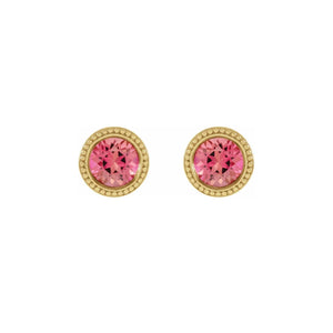 14k Gold Pink Tourmaline Beaded Stud Earrings