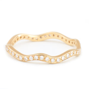 anne sportun 18k yellow gold wave eternity diamond wedding band - alchemy jeweler - portland oregon