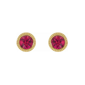 14k Gold Ruby Beaded Bezel Stud Earrings