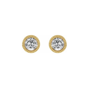 14k Gold White Sapphire Beaded Bezel Earrings