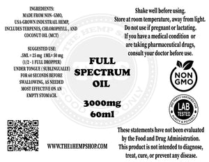 3000mg Full Spectrum Oil