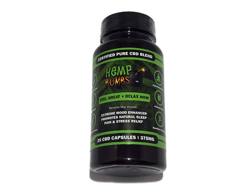 Hemp Bombs 25 CBD Capsules / Bottle (375mg)