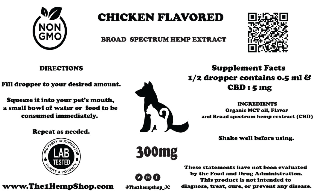 BROAD  SPECTRUM HEMP EXTRACT PET OIL