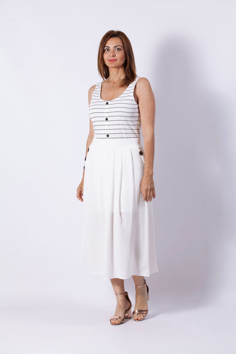 Falda midi blanca Dress Division frontal