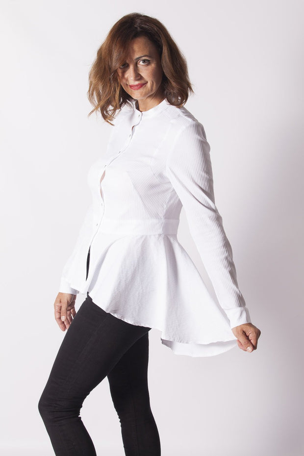 Camisa blanca mujer manga larga y cola Dress Division