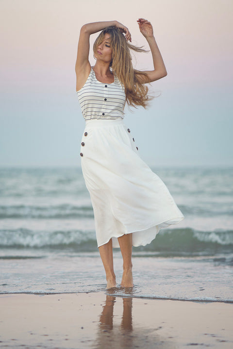Falda midi blanca Dress Division playa