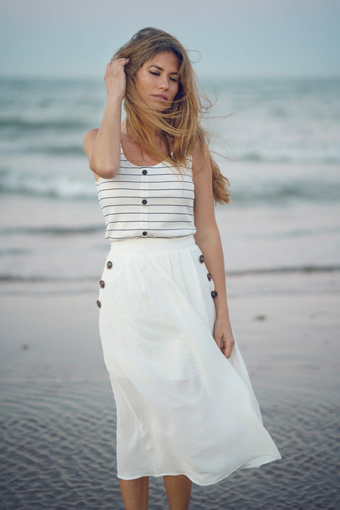Falda midi blanca Dress Division detalles playa