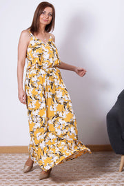 vestido largo de tirantes amarillo con estampado flores Dress Division movimiento
