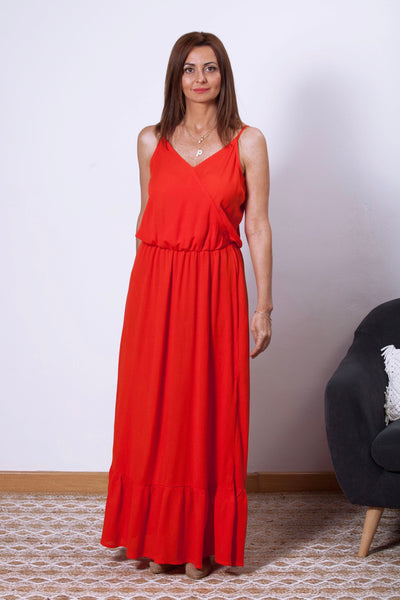 vestido largo de tirantes rojo Dress Division frontal