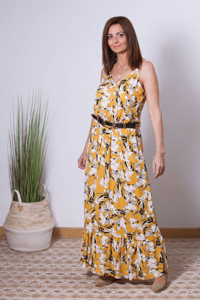 vestido largo de tirantes amarillo con estampado flores Dress Division frontal