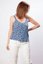Top de tirantes para mujer en color azul con estampado floral Dress Division